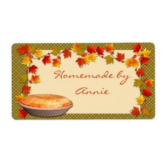 Etiqueta de la comida del otoño etiqueta de envío
