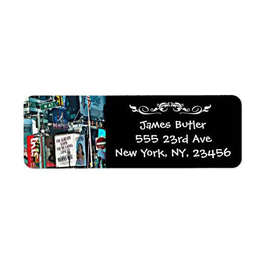 Etiqueta de la dirección del correo de New York Etiquetas De Remite