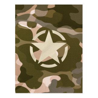Etiqueta de la estrella en estilo del camuflaje de postal