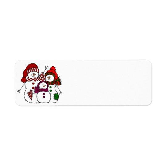 Etiqueta de la familia de la nieve del país etiqueta de remite