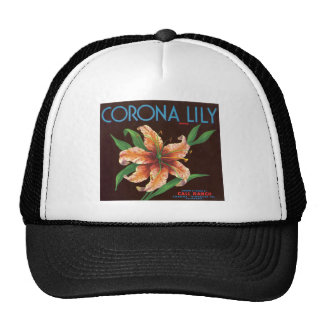 Etiqueta de la fruta del lirio de la corona del vi gorros bordados