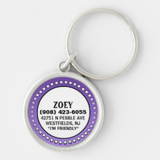 Etiqueta de la identificación del perro - círculo  llavero personalizado