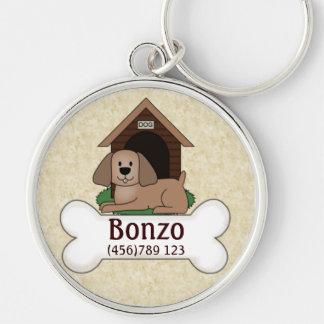 Etiqueta de la identificación del perro de la case llavero redondo plateado