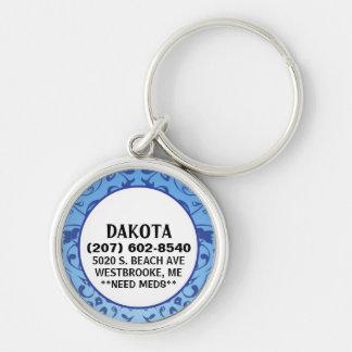 Etiqueta de la identificación del perro - diseño llavero redondo plateado