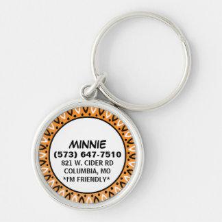 Etiqueta de la identificación del perro - frontera llavero redondo plateado