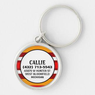 Etiqueta de la identificación del perro - oro rojo llavero redondo plateado