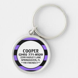 Etiqueta de la identificación del perro - púrpura llavero redondo plateado