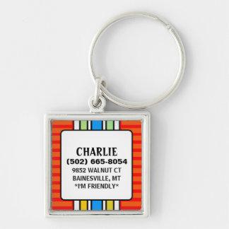 Etiqueta de la identificación del perro - rojo con llaveros personalizados