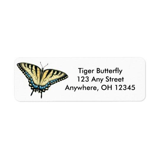 Etiqueta de la mariposa de Swallowtail del tigre Etiqueta De Remitente