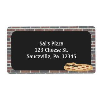 Etiqueta de la pizza etiquetas de envío
