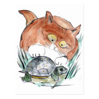 ¡Etiqueta de la tortuga - el gatito dice que usted Postal