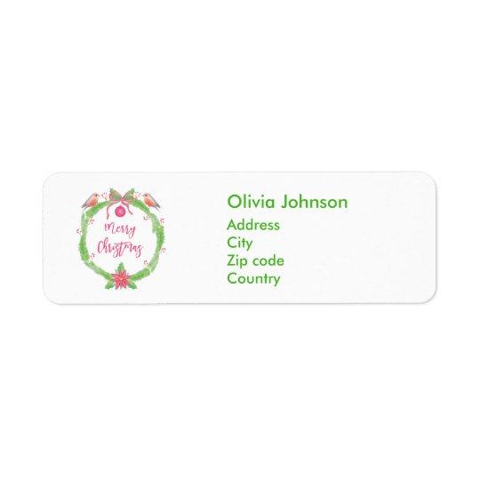 Etiqueta de las Felices Navidad de la guirnalda Etiqueta De Remitente