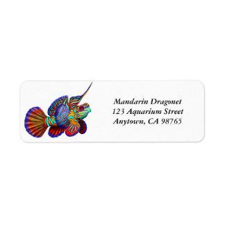 Etiqueta de los pescados del gobio de Dragonet del Etiqueta De Remitente
