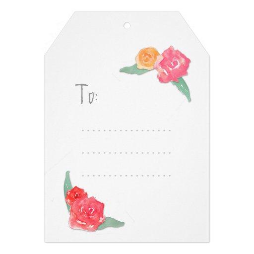 etiqueta de los rosas del watercolour invitacion personalizada