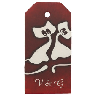 Etiqueta de madera del regalo de los pares