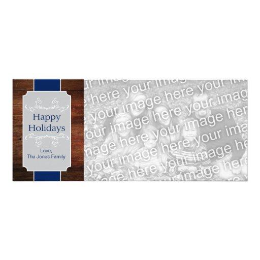 Etiqueta de madera rústica - azul, plata anuncio personalizado