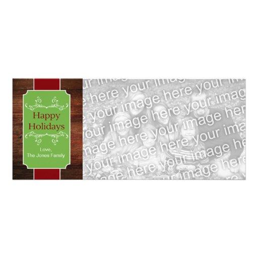 Etiqueta de madera rústica - rojo, verde invitación personalizada