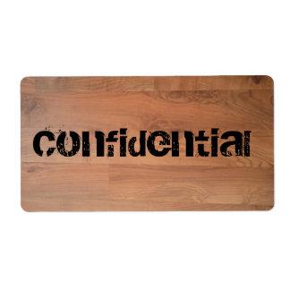 Etiqueta de madera secretísima confidencial de etiquetas de envío