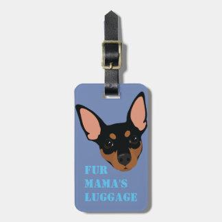 Etiqueta de mano de la maleta (negra) del equipaje