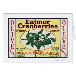 Etiqueta de marca verde oliva de los arándanos de  tarjeta de felicitación