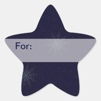 Etiqueta de medianoche del regalo de los copos de