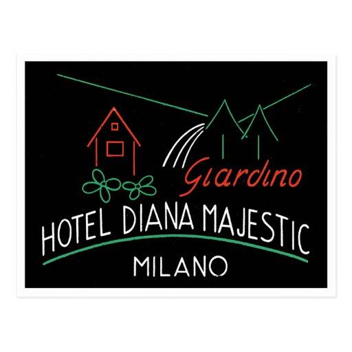 Etiqueta de Milano del hotel del vintage Tarjetas Postales