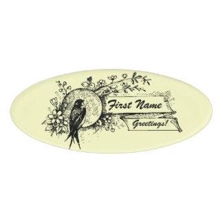Etiqueta De Nombre Pájaro y diseño floral delicado con las cintas del