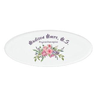 Etiqueta De Nombre Ramo floral de la lavanda y del rosa