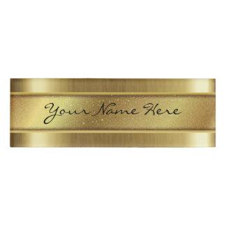 Etiqueta De Nombre Textura de oro granosa con la tira del nombre del