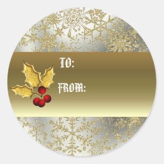 Etiqueta de oro del regalo del acebo