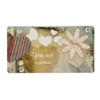Etiqueta de papel del amor etiqueta de envío