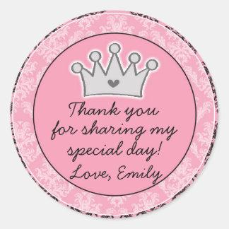 Etiqueta de princesa Black Pink Gift Favor