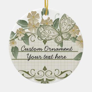 Etiqueta decorativa de la mariposa del estilo del adorno navideño redondo de cerámica