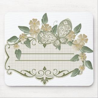 Etiqueta decorativa de la mariposa del estilo del  alfombrilla de ratón