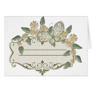 Etiqueta decorativa de la mariposa del estilo del felicitación
