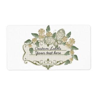 Etiqueta decorativa de la mariposa del estilo del etiquetas de envío