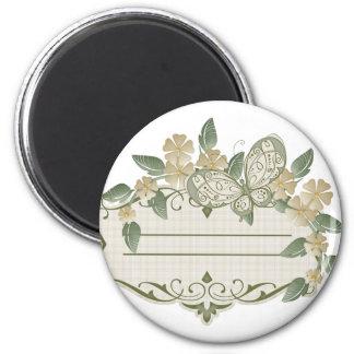 Etiqueta decorativa de la mariposa del estilo del  imán redondo 5 cm