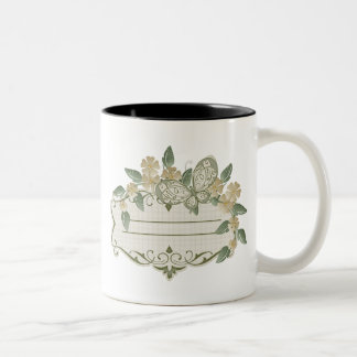 Etiqueta decorativa de la mariposa del estilo del taza de café
