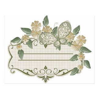 Etiqueta decorativa de la mariposa del estilo del postal
