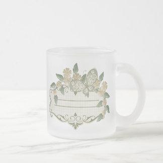 Etiqueta decorativa de la mariposa del estilo del taza cristal mate