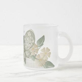 Etiqueta decorativa de la mariposa del estilo del taza de cristal