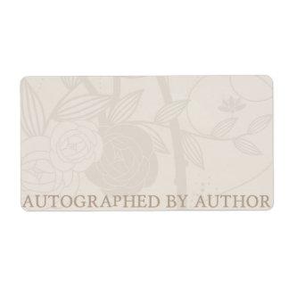 Etiqueta Dedicado por la flor de la crema del Bookplate del
