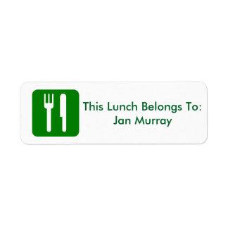 Etiqueta del almuerzo (para el trabajo o la etiquetas de remite