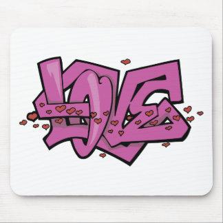Etiqueta del amor de la pintada alfombrillas de ratón