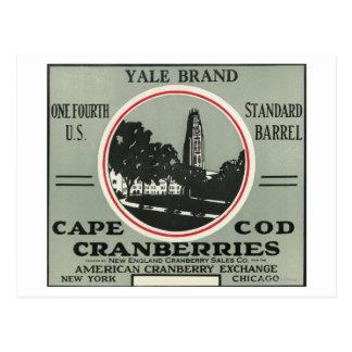 Etiqueta del arándano de la marca de Cape Cod Yale Postal