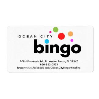 Etiqueta del bingo de la ciudad del océano etiqueta de envío