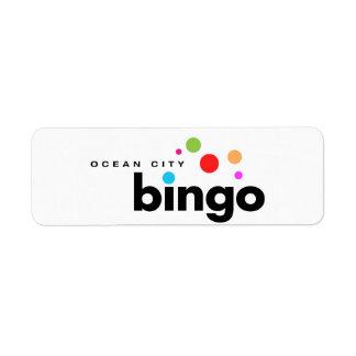 Etiqueta del bingo de la ciudad del océano etiqueta de remite