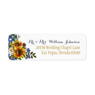 Etiqueta del boda del ramo del girasol del país de