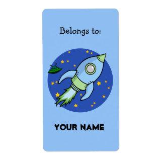 Etiqueta del Bookplate del verde azul de Rocket Etiquetas De Envío