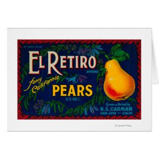 Etiqueta del cajón de la pera del EL Retiro Tarjeta De Felicitación